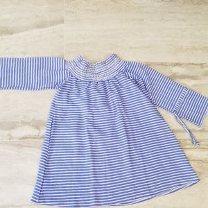 Tops - Blue and white striped off the shoulder top